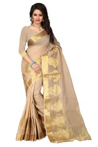 See More Self Design Chiku Colour Poly Cotton Banarasi Saree With Blouse For Women Raj_pot_chikku