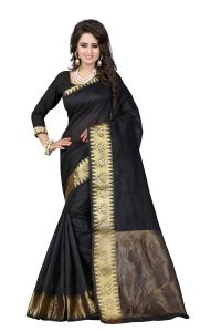 See More Self Designer Black Colour Cotton Saree With Golden Border Raj Suryam Black