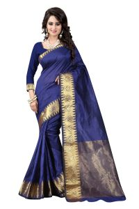 See More Self Designer Blue Colour Cotton Saree With Golden Border Raj Suryam Blue