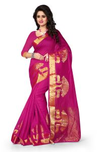 See More Self Design Pink Colour Poly Cotton Banarasi Saree With Blouse For Women Raj_tree_pink