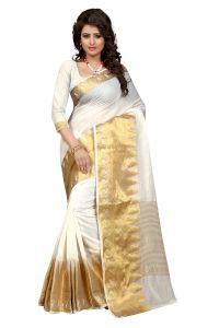 See More Cotton Sarees - See More Self Design White Colour Poly Cotton  Banarasi Saree With Blouse For Women Raj_White_Kery