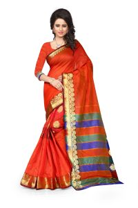 See More Self Design Red Color Art Silk Banarasi Saree For Woman Sandy Butta Red.