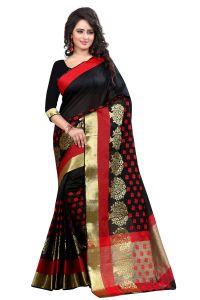 See More Cotton Sarees - See More Self Design Black Color Banarasi Poly Cotton Saree With Blouse Piece Sathiya Biba Black