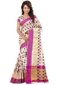 See More Sarees - See More Self Designer Pink Color Poly Cotton Saree With Blouse Piece Sathiya Cottan Pink