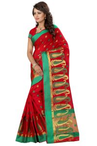 See More Cotton Sarees - See More Self Designer Red Color Poly Cotton Saree With Blouse Piece Sathiya Mango red
