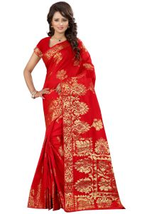 See More Self Designer Red Color Kolam Patta Saree With Blouse Piece Sathiya Mani Red