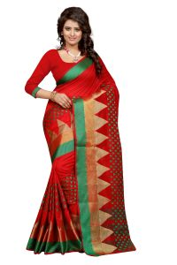 See More Self Design Red Colour Poly Cotton Banarasi Saree With Blouse For Women Sathiya_newone_red