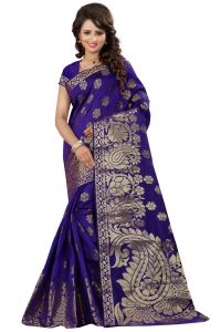 See More Self Designer Blue Color Kolam Patta Saree With Blouse Piece Sathiya Poshak Blue