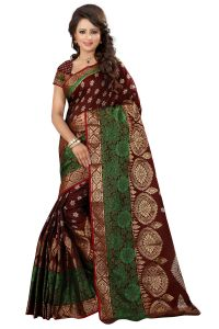 See More Sarees (Misc) - See More Self Designer Maroon Color Kolam Patta Saree With Blouse Piece Sathiya Ragini Maroon