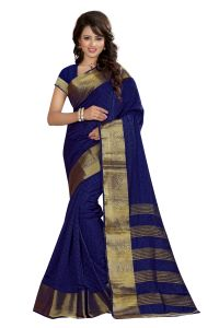 See More Self Designer Nevy Blue Color Art Silk Saree With Blouse Piece Sharma Kamal Nevy Blue