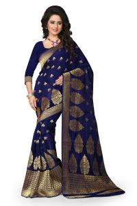 See More Art Silk Banarasi Saree With Blouse For Women- Navy Blue
