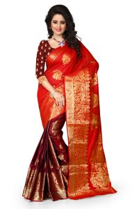 See More Self Design Red And Maroon Color Banarasi Art Silk Saree Sharma Red Butterfly 020