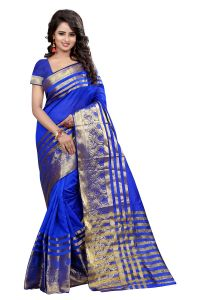 See More Self Designer Blue Color Banarasi Poly Cotton Saree With Blouse Piece Sultan Blue