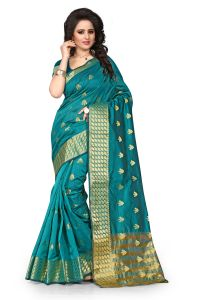 See More Self Design Rama Color Banarasi Saree Tamasha Butti Rama.