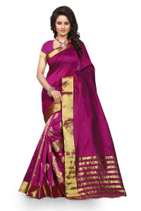 See More Self Design Majenta Color Banarasi Saree Tamasha Gehana Mazenta