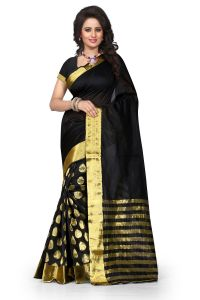 See More Self Design Black Color Art Silk Banarasi Saree For Woman Tamasha Tilak Black.
