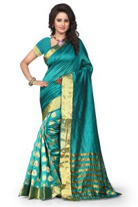 See More Self Design Rama Color Art Silk Banarasi Saree For Woman