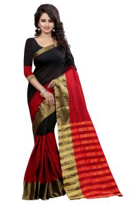 See More Self Designer Black Red Color Poly Cotton Saree With Blouse Piece Vandana Black Red