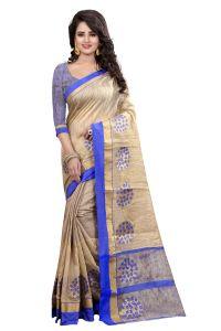See More Cotton Sarees - See More Self Designer  Blue Color Banarasi Poly Cotton Saree With Blouse Piece WOODLAND BLUE 1