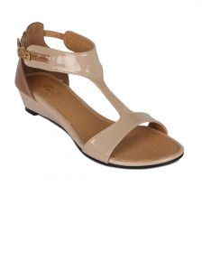 Flora Khaki Synthetic Leather Wedges Sandal For Women - (product Code - Fr-5082-03)