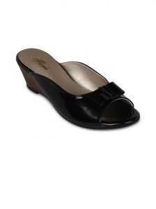 Flora Black Synthetic Leather Wedges Slip-on For Women - (product Code - Fr-4050-01)