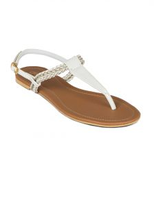 Flora White Synthetic Leather Flat Sandal For Women - (product Code - Pf-0113-02)