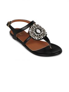 Flora Black Synthetic Leather Flat Sandal For Women - (product Code - Fr-4260-01)