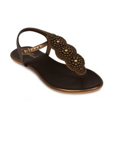 Flora Gold Synthetic Leather Flat Sandal For Women - (product Code - Fr-4221-23)
