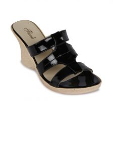 Flora Black Synthetic Leather Wedges Sandal For Women - (product Code - Fr-4502-01)