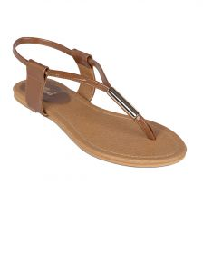 Flora Beige Synthetic Leather Flat Sandal For Women - (product Code - Pf-0112-39)