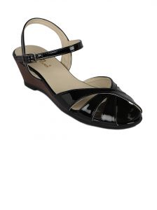 Flora Black Synthetic Leather Wedges Sandal For Women - (product Code - Fr-4033-01)
