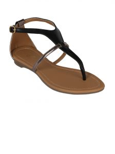 Flora Black Synthetic Leather Flat Sandal For Women - (product Code - Pf-0114-01)