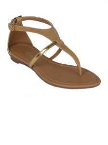 Flora Beige Synthetic Leather Flat Sandal For Women - (product Code - Pf-0114-03)