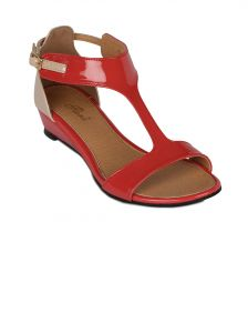 Flora Red Synthetic Leather Wedges Sandal For Women - (product Code - Fr-5082-50)
