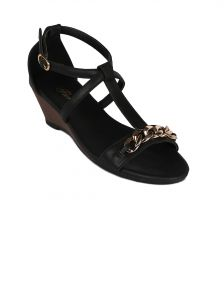 Flora Black Synthetic Leather Wedges Sandal For Women - (product Code - Fr-4062-01)