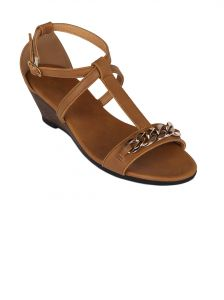Flora Tan Synthetic Leather Wedges Sandal For Women - (product Code - Fr-4062-07)
