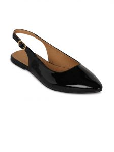Flora Black Synthetic Leather Flat Sandal For Women - (product Code - Fr-8101-01)