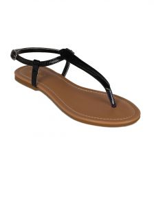 Flora Black Synthetic Leather Flat Sandal For Women - (product Code - Pf-0108-01)