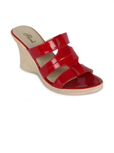 Flora Red Synthetic Leather Wedges Sandal For Women - (product Code - Fr-4502-05)