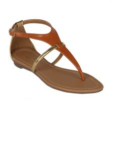 Flora Tan Synthetic Leather Flat Sandal For Women - (product Code - Pf-0114-07)