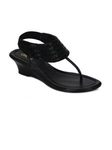 Flora Black Synthetic Leather Sandal For Women - (product Code - Pf-1003-01)