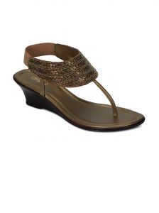 Flora Gold Synthetic Leather Sandal For Women - (product Code - Pf-1003-22)