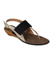 Flora Black Synthetic Leather Sandal For Women - (product Code - Pf-4001-01)