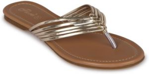 Flora Gold Synthetic Leather Flat Slip-on For Women - (product Code - Pf-0103-31)