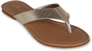 Flora Gold Synthetic Leather Flat Slip-on For Women - (product Code - Pf-0107-22)