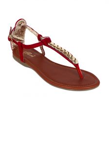 Flora Red Suede Flat Sandal For Women - (product Code - Pf-0123-05)