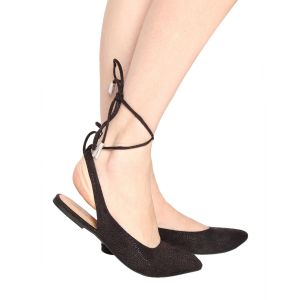 Flora Black Flat Lace Up Sandal (code - Pf-0133-01)