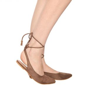 Flora Brown Flat Lace Up Sandal (code - Pf-0133-06)