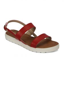 Flora Comfort Footbed Red Sandal (pf-0140-05)
