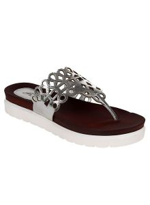 triveni,lime,flora,clovia,sleeping story Women's Footwear - Flora Comfort Silver Footbed Sandal (Code - PF-0143-21)